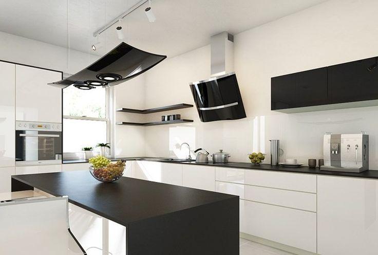 Wohnküche mit Insel in schwarz und weiß