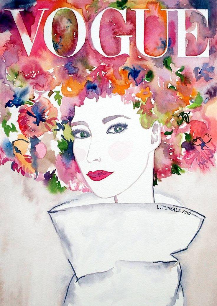 $225 USD http://www.liisatuimala.com Original watercolor painting by Liisa Tuimala. #Vogue #watercolor #fashion