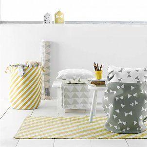 Roomblush Opbergmand Stripes mosterdgeel wit canvas katoen ø40xh50cm