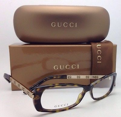 New GUCCI Eyeglasses GG 3002 ANT 54-12 135 Tortoise & Gold Frames with Crystals