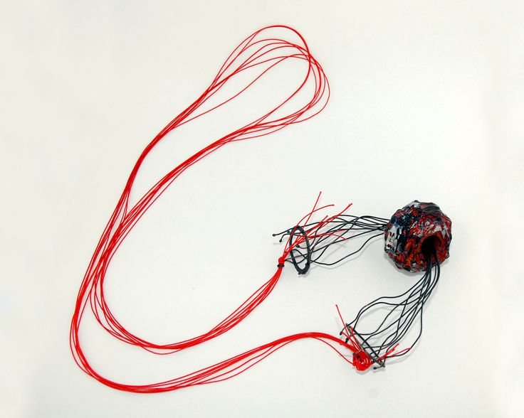 Victoria Ioannidou, Necklace, 2014, bronze, copper, plastic,silicone,acrylics,resin,red string.