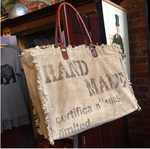 Large recycled canvas 'Handmade' bag.
