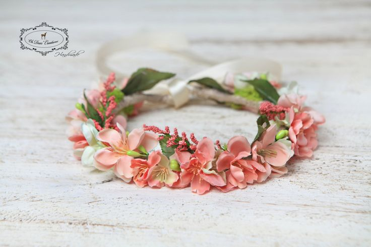 Floral headband,flower crown,blossom collection,cherry blossom,flower girl,photo session,fairy garden,birthday party,gift for girl by OhDearAccessories on Etsy