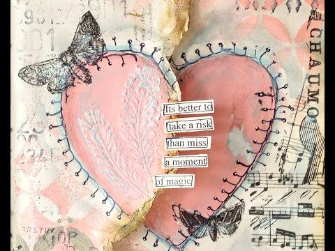 Art Journaling Mixed Media: Heart - YouTube