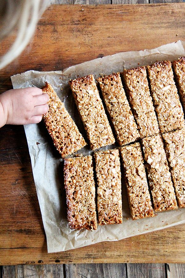 Coconut-almond granola bars. I've been making these twice a week since the start of the summer — easy, delicious, healthy.