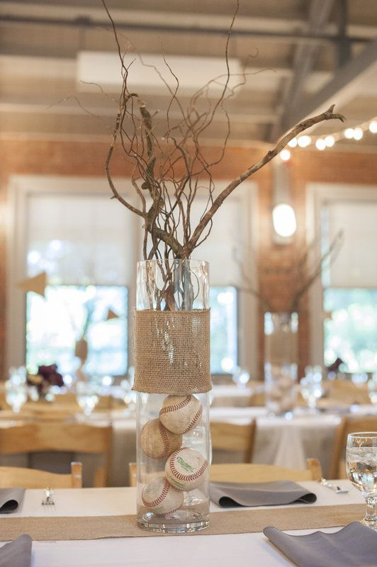 Baseball wedding center pieces By Rachel Abi