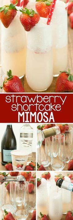 Strawberry Shortcake Mimosa - just three ingredients to the prettiest mimosa recipe ever! This champagne cocktail is perfect for brunch and can be made as a single cocktail or as a punch! #cocktaildrinks