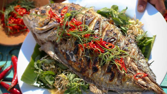 Barbecued trevally with sambal bajak makassar recipe : SBS Food