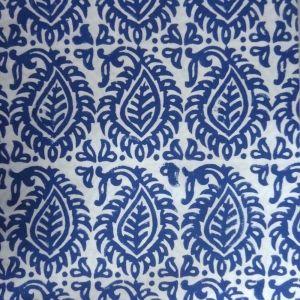 20 Sheeting Cotton Fabric Hand Block Printed LEAF BLUE SKU 11121 | Block Printed Fabric By Yard