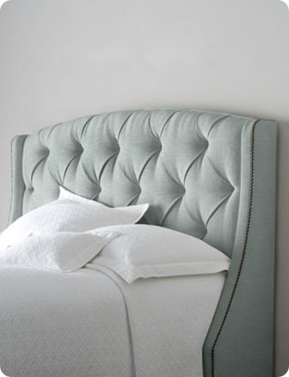 Tufted Fabric Headboard with Winged Sides
