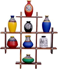 Beautiful terracotta pots in a wooden shelves...