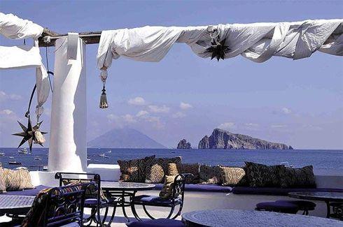 Aeolian Islands. Panorama from Panarea. Sicily, Italy