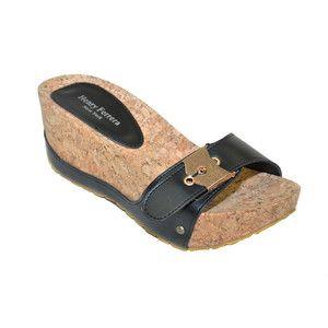Cork Wedge Sandal Black