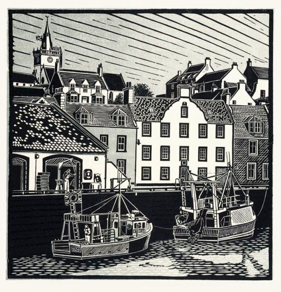 """Pittenweem"" linocut by James Dodds RCA (b.1957). www.jamesdodds.co.uk Tags: Linocut, Cut, Print, Linoleum, Lino, Carving, Block, Woodcut, Helen Elstone, Sea, Boat, Harbour, Waves, Sky, Buildings, Houses."
