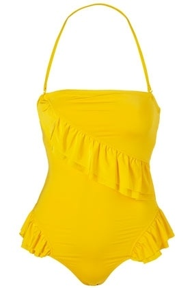 Yellow Slinky Frill One Piece Swimsuit - Swimwear - Clothing - Topshop USA - StyleSays: One Piece Swimsuits, Retro Swimsuits, One Pieces Swimsuits, Yellow Swimsuits, Yellow Suits, Bath Suits, Yellow Ruffles, Yellow Slinky, Yellow Frill