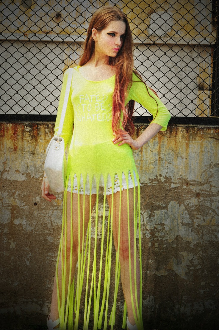 Aliexpress.com : Buy Tammytangs fashion candy neon color medium long irregular sweep printing top tassel t shirt female from Reliable T-Shirts suppliers on Mr Ransom Fashion Store