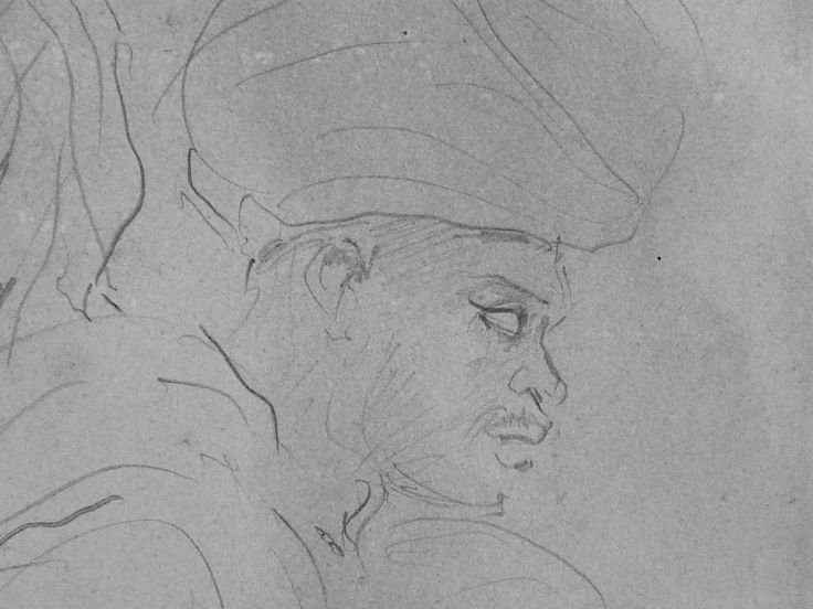 CHASSERIAU Théodore,1846 - Deux Arabes assis - drawing - Détail 13