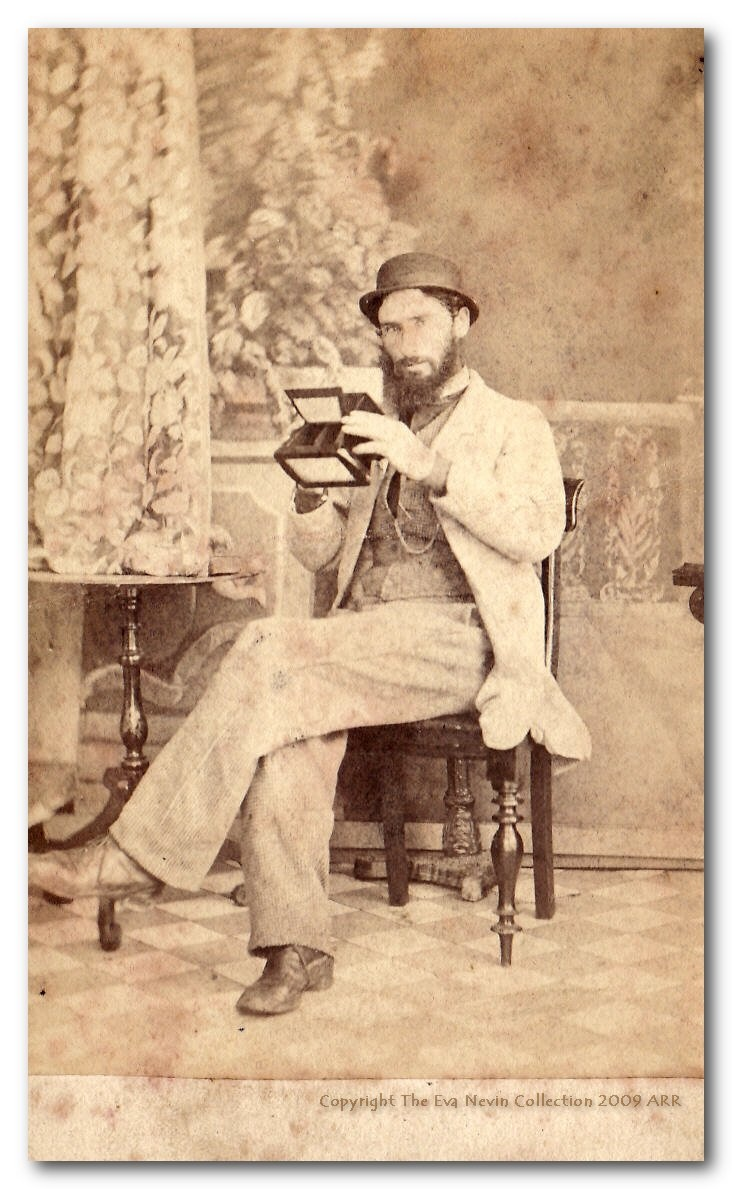 Thomas J. Nevin 1860s with stereo viewer