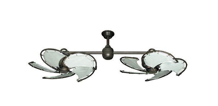"Twin Star III Oil Rubbed Bronze Nautical Dual Ceiling Fan with 30"" White Fabric Blades   Dan's Fan City"