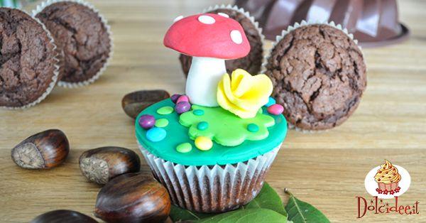"""Muffin con castagne decorati a tema """"bosco"""""""