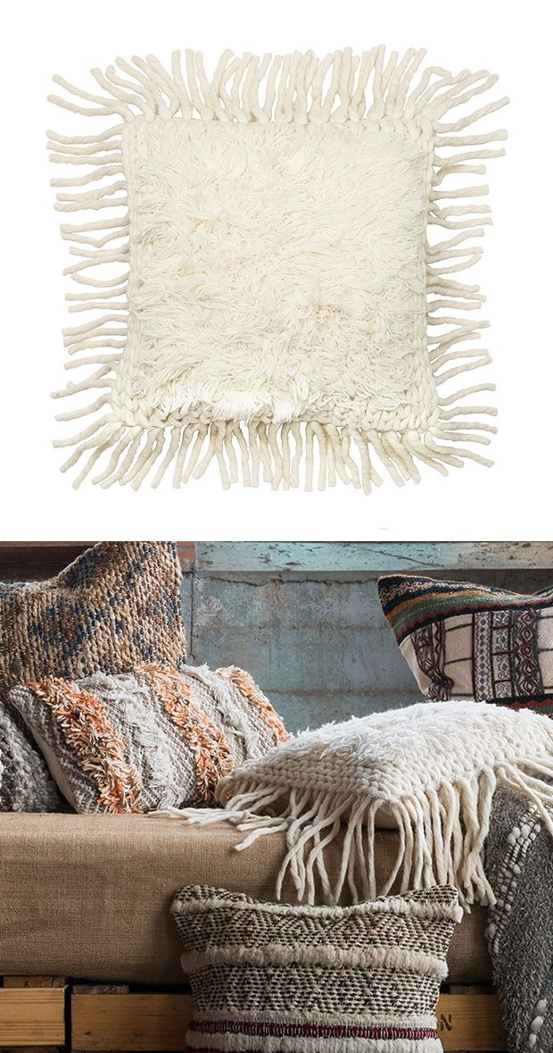 You'll love the wooly texture of this bright, hand-woven throw pillow. With thick, corded fringe that mimics the rays of the sun, this piece brings a wintery charm to your favorite sofa or lounge chair...  Find the Winter Sun Throw Pillow, as seen in the Dreamy #WinterWhites Collection at http://dotandbo.com/collections/dreamywinterwhites?utm_source=pinterest&utm_medium=organic&db_sku=114999