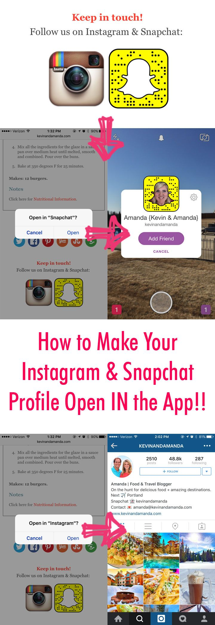 How to link to your Instagram and Snapchat profiles so they open IN the app!!