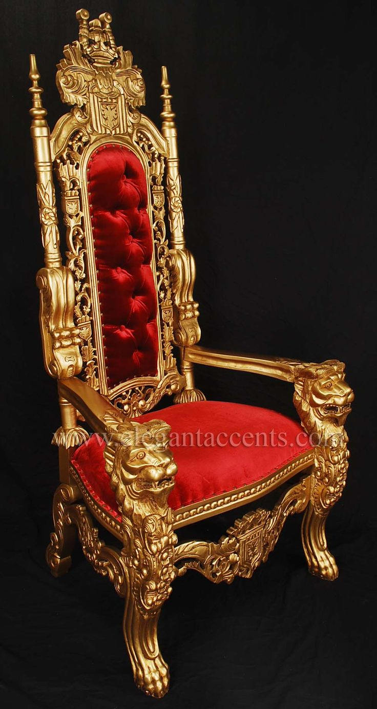 "King Lion Throne Chair. These throne chairs are hand carved from solid mahogany. Finished with gold paint and upholstered with red velvet with antiqued brass tacks. These ""King"" chairs are around 71"" tall, 35"" wide and 30"" deep. Sold by Elegant Accents in Texas for only $995."