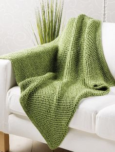 Seagrass-Throw - This easy blanket makes a great project for a charity donation. Big needles and open stitches mean it works up in a jiffy