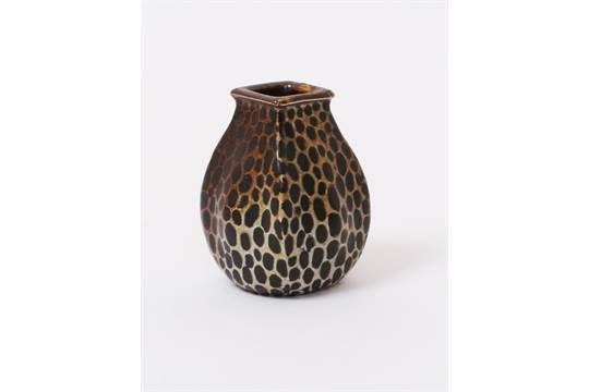 A Martin Brothers stoneware gourd vase by Edwin & Walter Martin, dated 1907, swollen square secti