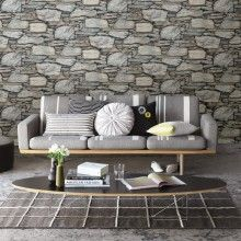 Fine Decor Distinctive Slate Stone Wallpaper in Natural Grey - FD40941
