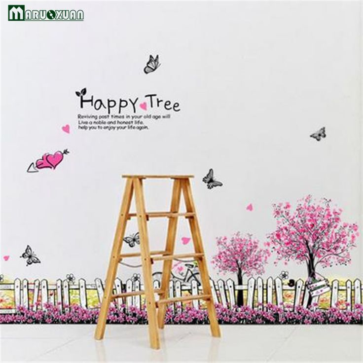 New Factory Direct Fence Cherry Wall Stickers Wholesale Personalized Fashionable Removable Green Wall Stickers