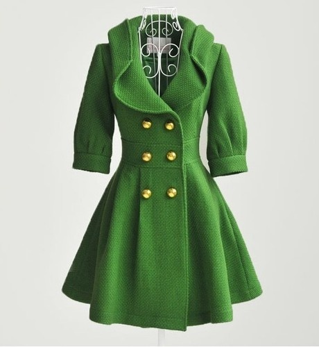 Charming green wool coat jacket sleeve double-breasted woman SIZE:S M L | eBay