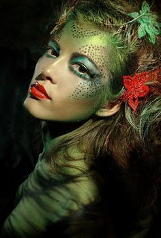 this halloween be inspired by this gorgeous green woodland fairy makeup idea green body paint emphasized green eyeshadow with glitter d - Witch Halloween Makeup Ideas