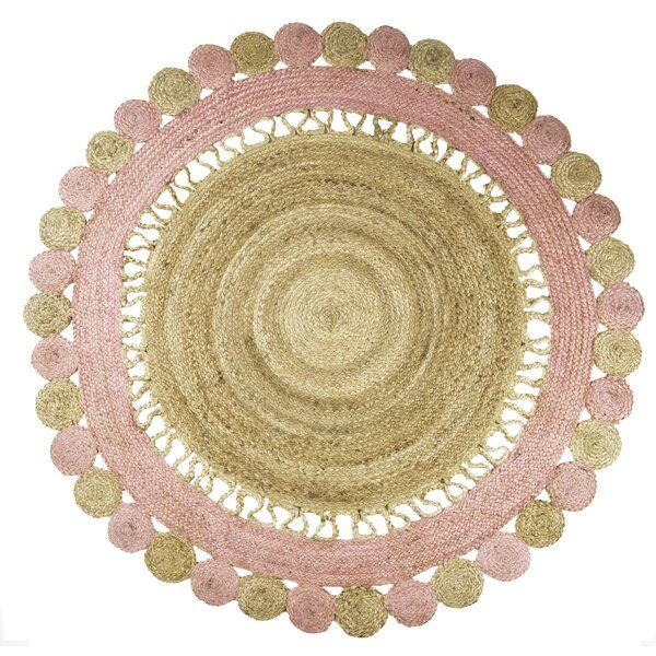 Jute Round Rug Colorful Rugs Pink