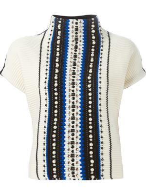 embellished striped sweater