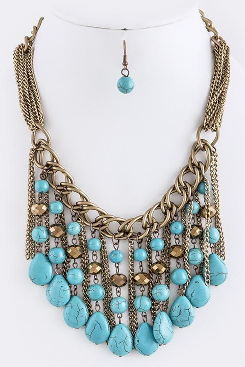 FAUX TURQUOISE FRINGE BIB NECKLACE SET [http://fashionbella.com/faux-turquoise-fringe-bib-necklace-set-p-75330.html; http://jellybeanwholesale.com/faux-turquoise-fringe-bib-necklace-set-p-98521.html]