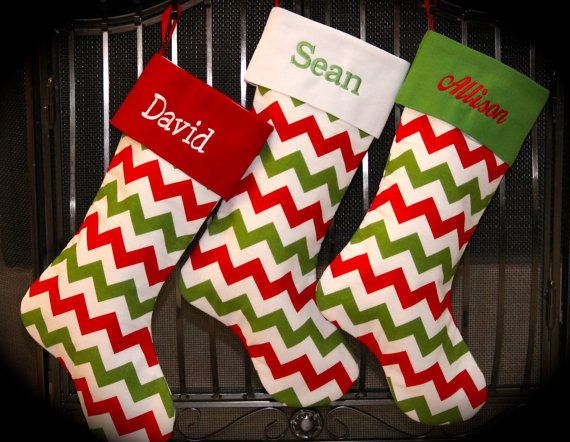 One Personalized Chevron Christmas Stocking by MBEmbroidery, $28.00