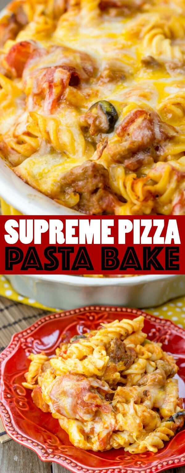 Switch up your normal pizza routine and make this super easy, super delicious Supreme Pizza Pasta Bake! Your new Friday night trend!