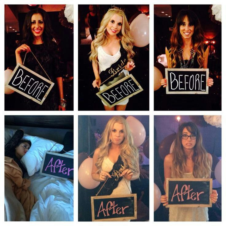 Before and after pictures for the bachelorette party. Love this