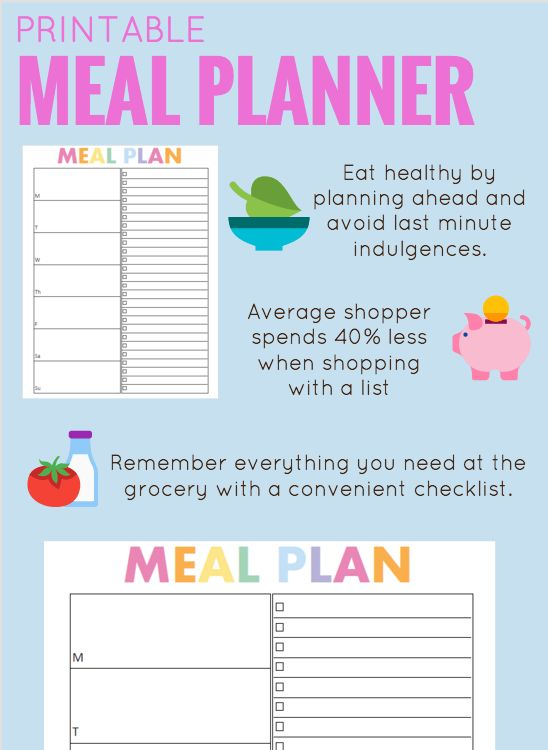 meal planner printable meal planner with grocery list meal planner template