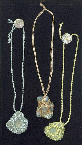 wrapped & tied, or crocheted around beachglass #DIY #craft #crochet #stones #pebbles #beach_glass #jewelry
