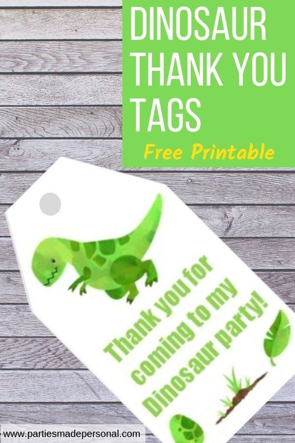 Dinosaur Thank You Tags Free Printable Parties Made Personal Party Printables Free Dinosaur Party Bags Dinosaur Themed Birthday Party
