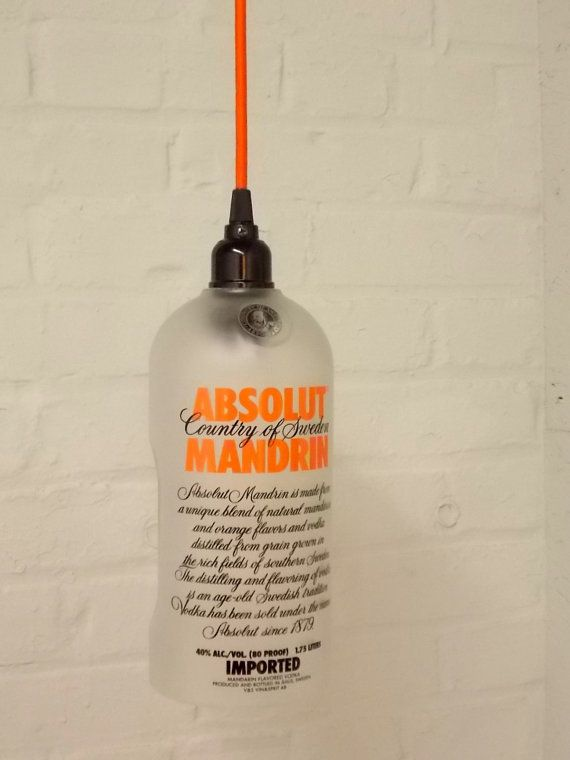 Upcycled Orange Repurposed Hanging Pendant Absolut Mandarin Lamp color fabric cord swag light Recycled Glass ($75)