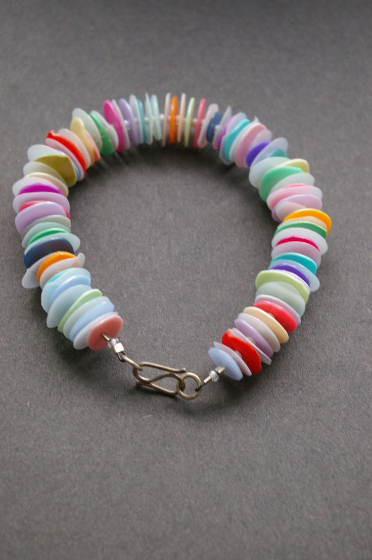 Recycled Plastic, Beach Plastic, Upcycled Plastic Bottles, Multi coloured 'Megadisc' Bracelet A. £45.00, via Etsy.