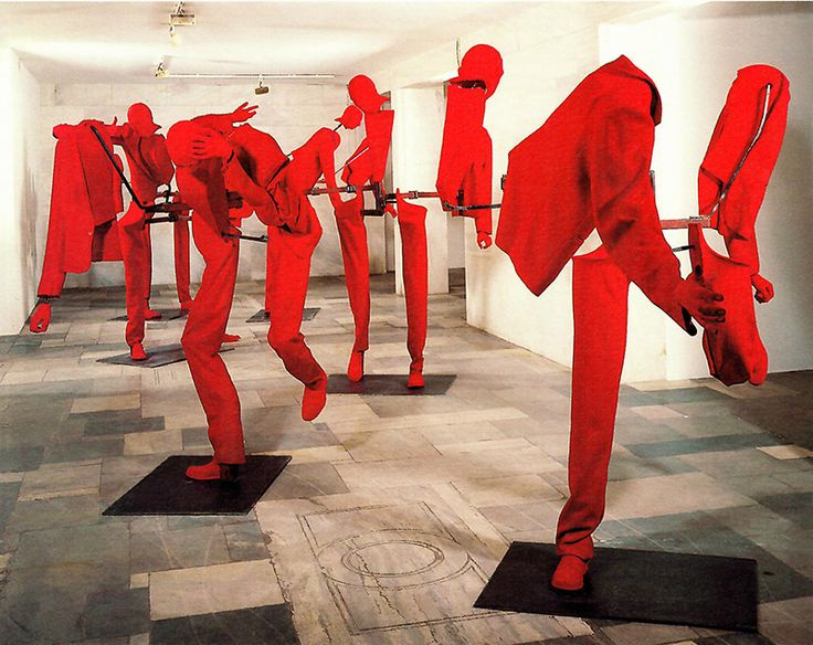 George Lappas, New Burghers, 1992-1993, Iron, Plaster, Polyurethane, Red Cloth, Unfolded 220x 300 x 200 cm, Folded: 220 x 100 x 70 cm, Bernier/Eliades Gallery Archive