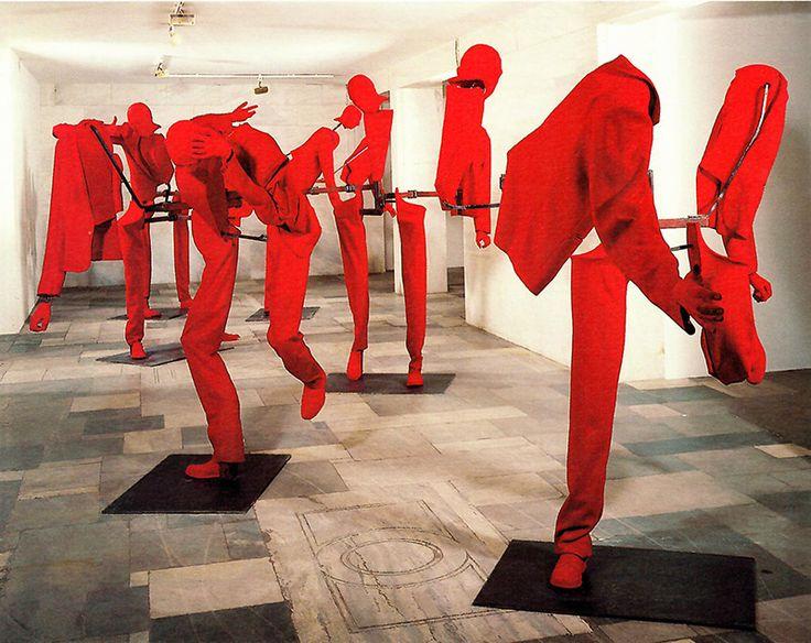 George Lappas, New Burghers, 1992-1993, Iron, Plaster, Polyurethane, Red Cloth, Unfolded 220x 300 x 200 cm, Folded: 220 x 100 x 70 cm, Bernier/Eliades Gallery Archive