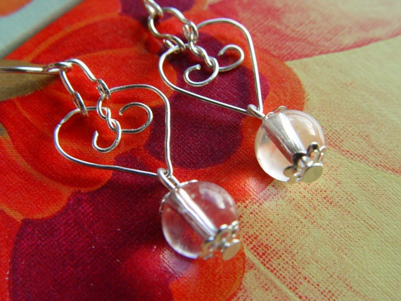 silver earrings with sterling silver hearts and clear by terramor, €30.00