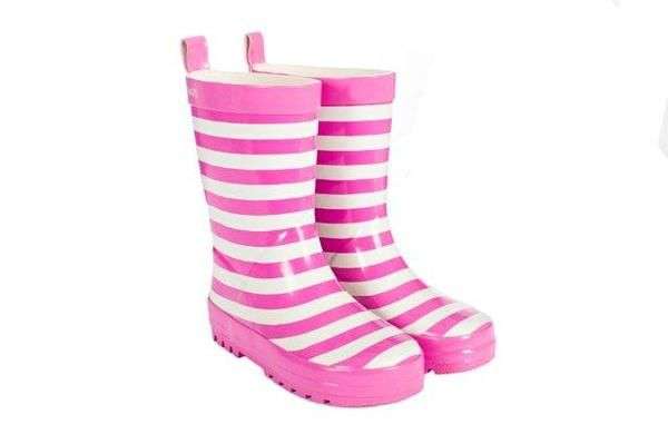 SKEANIE Childrens Kids Pink Stripe Gumboots. Sizes 6.5-5 SKEANIE Gumboots are made from soft rubber with a cotton lining. Perfect for little feet that love to jump in puddles.