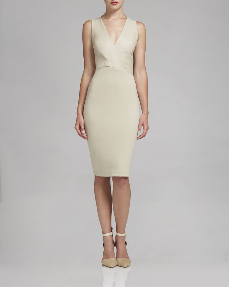 This elegant dress is the Casanova Dress by Bailey 44, it''s available in Sand color.