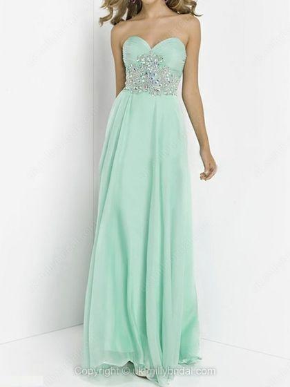 A-line Sweetheart Chiffon Floor-length Rhinestone Prom Dresses -USD$194.68